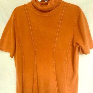 Women's Orange Vintage Turtleneck Blouse.